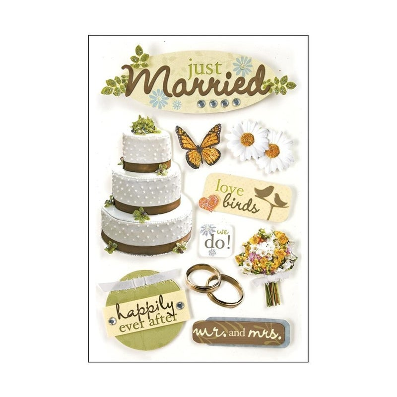 Just Married 3D Stickers