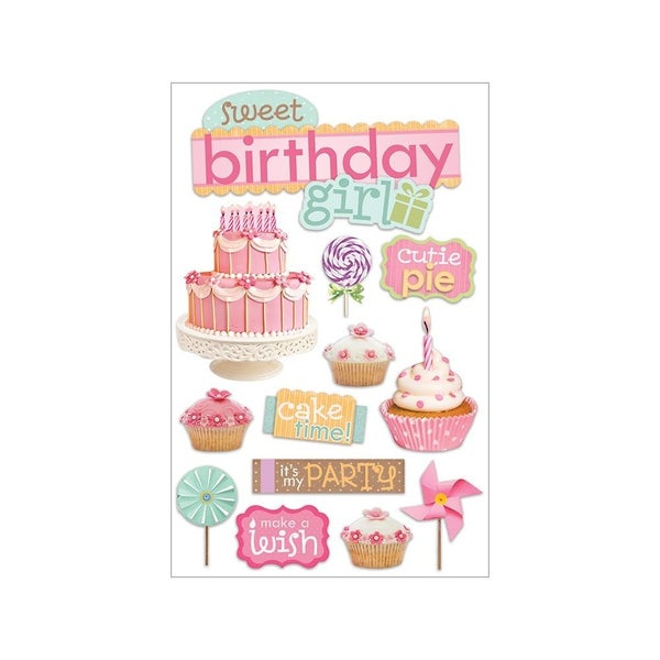 Birthday Girl 3D Stickers