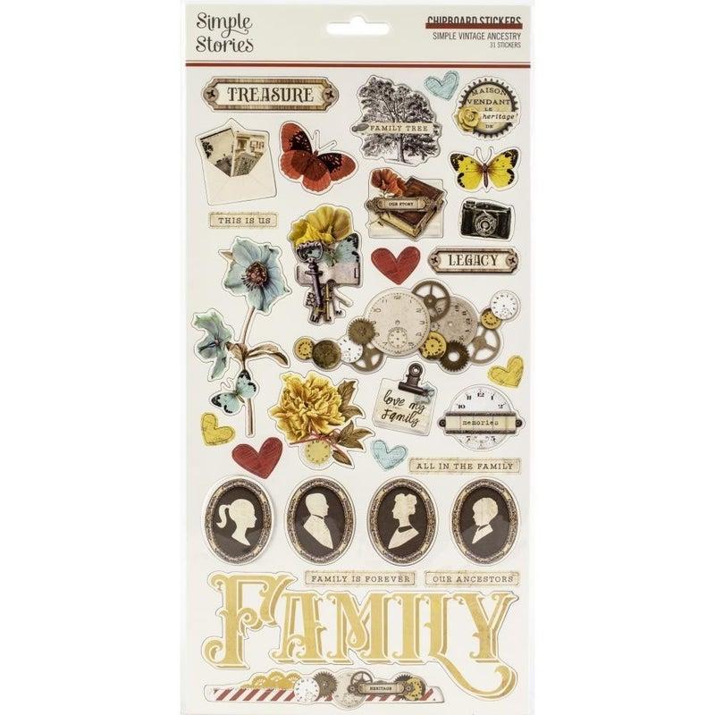 Simple Vintage Ancestry Chipboard Stickers