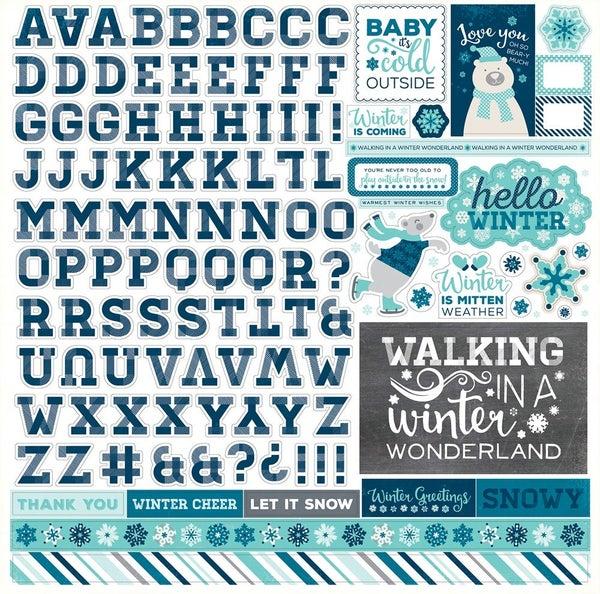 Hello Winter Alphabet 12x12 Stickers