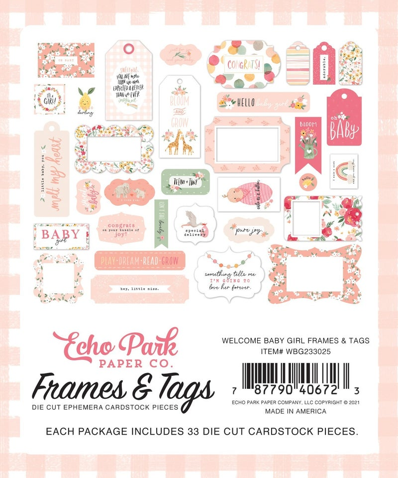Welcome Baby Girl Frames & Tags Ephemera