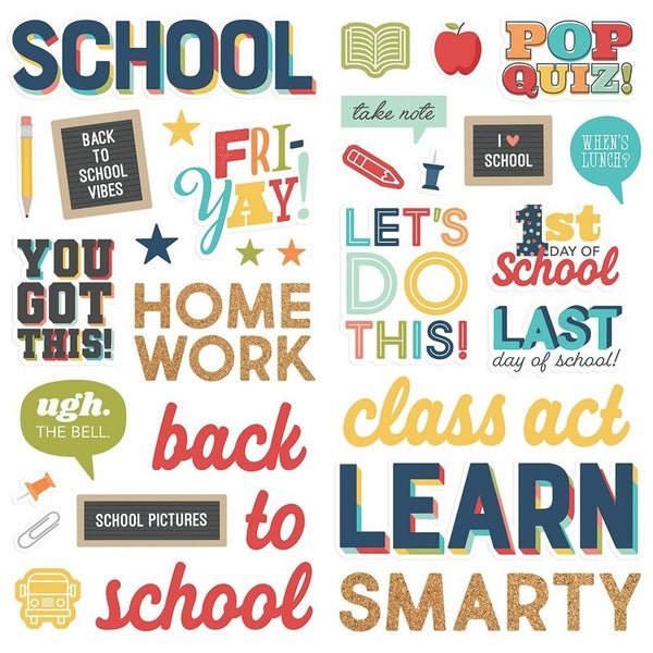 School Life Foam Stickers