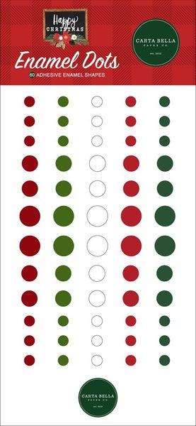 Happy Christmas Enamel Dots