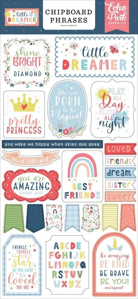 Little Dreamer Girl Chipboard Phrases