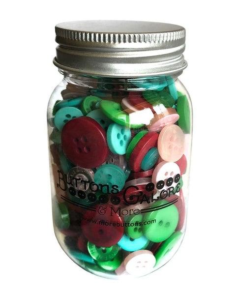 Buttons Mason Jar - Retro Christmas