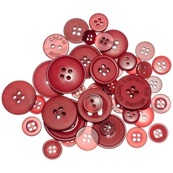 Buttons Mason Jar - Merlot