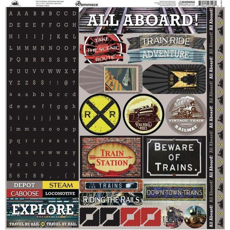All Aboard 12x12 Sticker Sheet Train