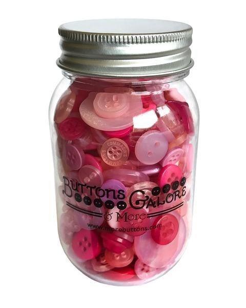 Buttons Mason Jar - Pink Grapefruit