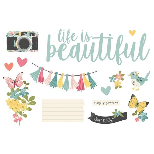 Life is Beautiful - Simple Vintage Cottage Fields - Page Pieces