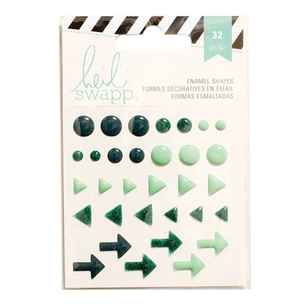 Teal Enamel Shapes with Glitter