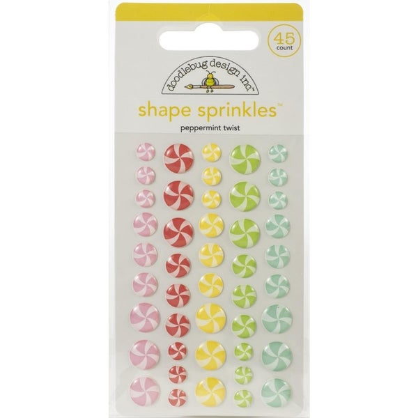 Doodlebug Enamel Shapes - Peppermint