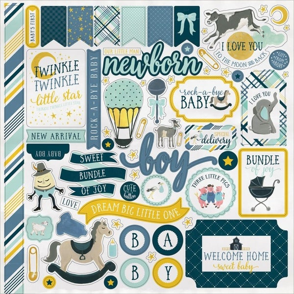 Rockabye Baby Boy 12x12 Sticker Sheet