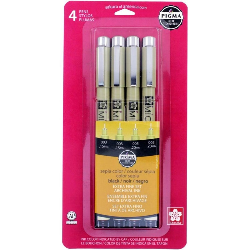 Pigma Micron Pens, Set of 4 - Black Ink