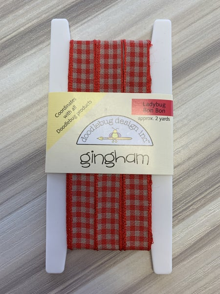 Doodlebug Ginham Red/Beige Ribbon