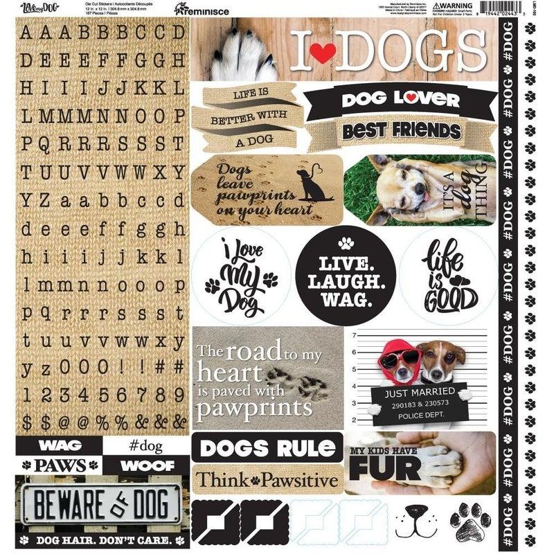 Love My Dog Alphabet 12x12 Sticker Sheet