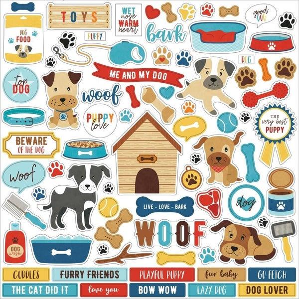 I Love My Dog 12x12 Sticker Sheet