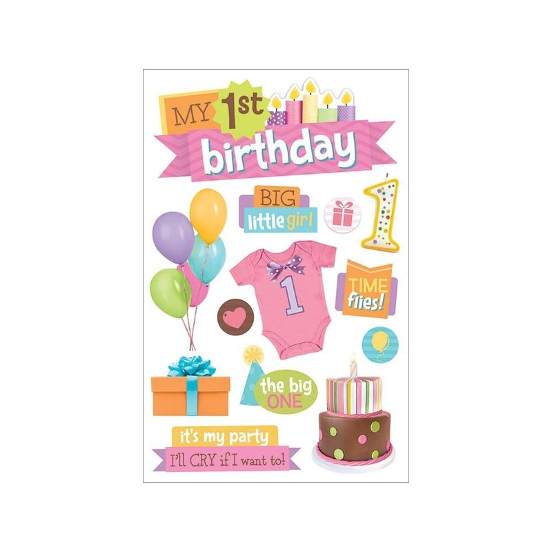 Girl Birthday 3D Stickers