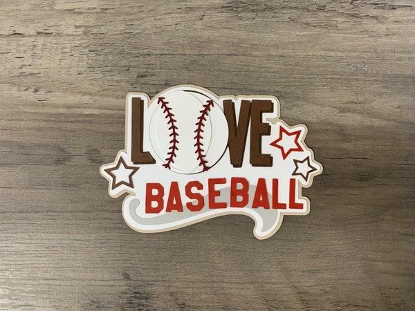 Love Baseball Die Cut Size 4 1/2 x 3