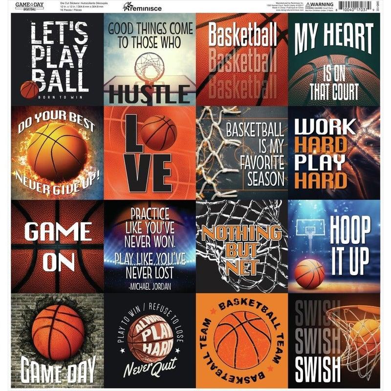Game Day Basketball 12x12 Sticker Sheet