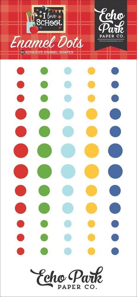 I Love School Enamel Dots