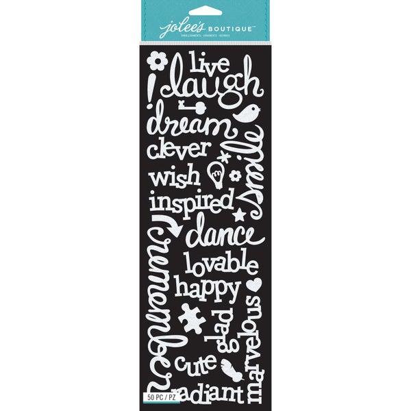 Laugh Love White Glitter Stickers