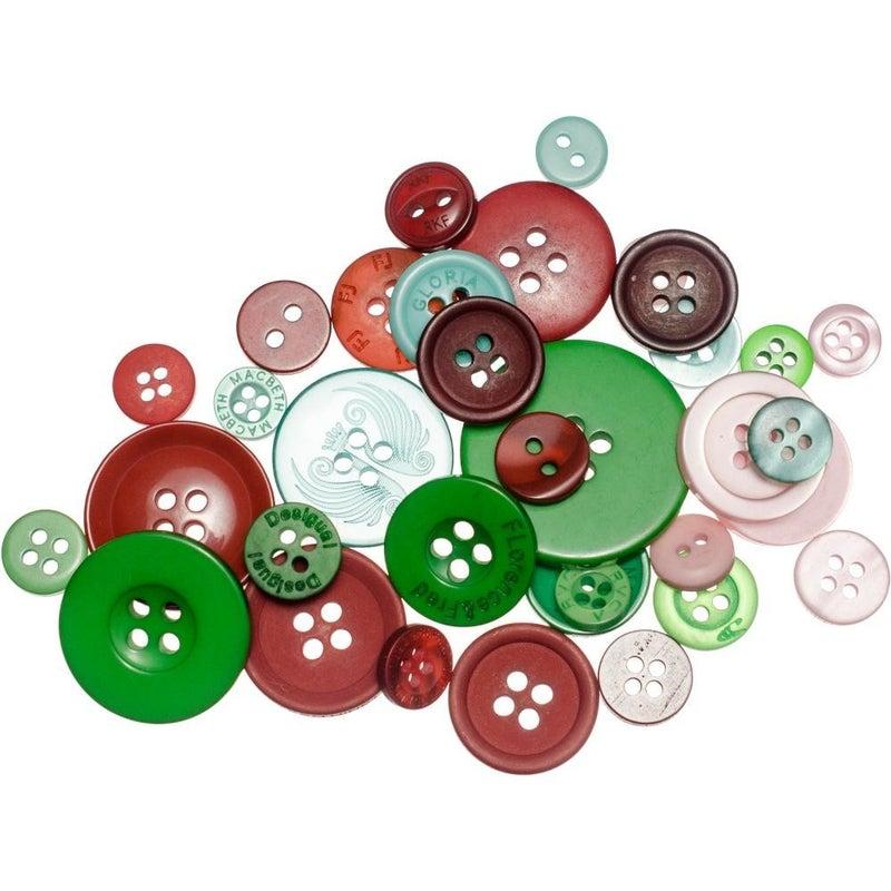Buttons Mason Jar - Christmas