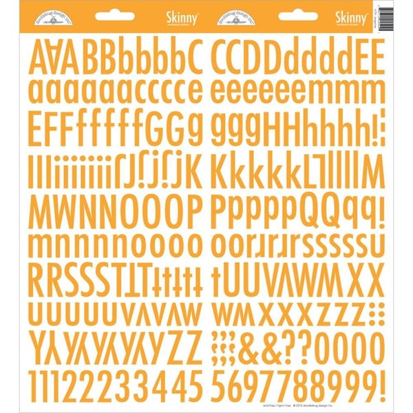 Skinny Alphabet Stickers - Tangerine Orange