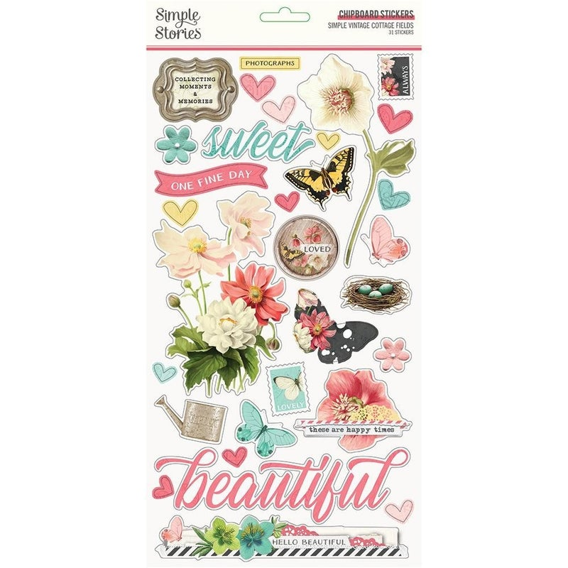 Simple Vintage Cottage Fields Chipboard Thickers