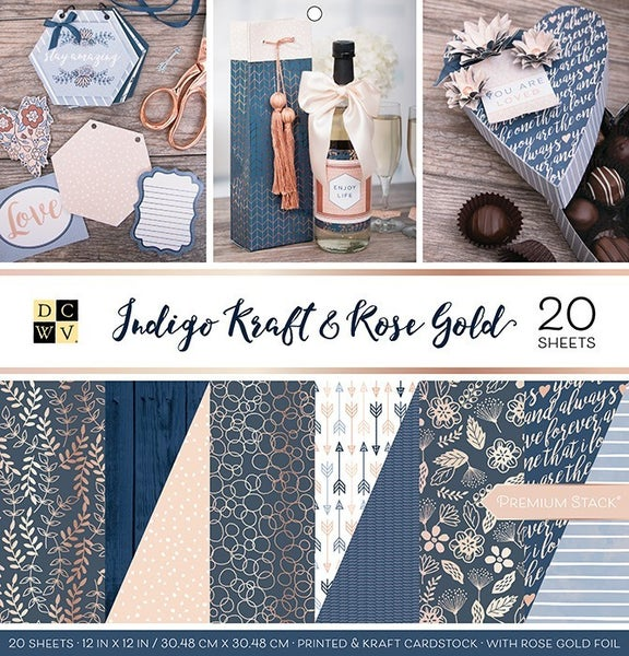 Indigo Kraft & Rose Gold Paper Pack