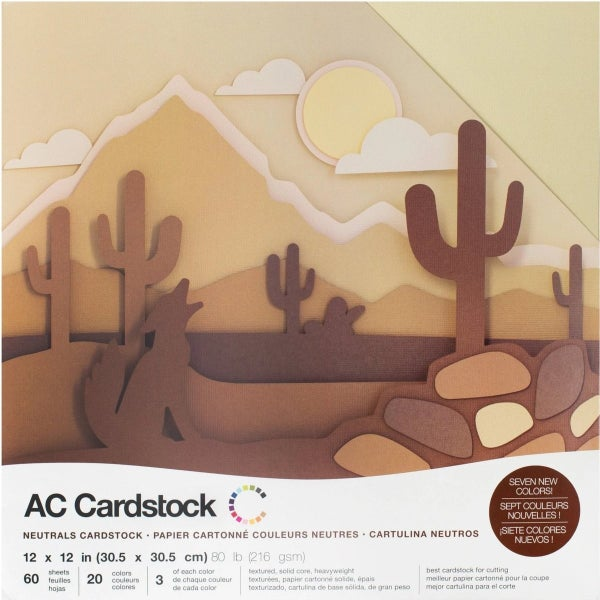 American Crafts Neutrals Cardsock Pack Qty 60