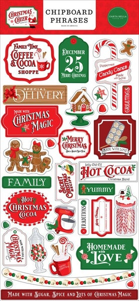 Christmas Cheer Chipboard Phrases