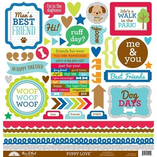 Puppy Love Dog 12x12 Sticker Sheet