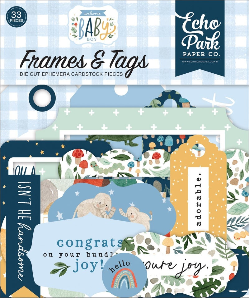 Welcome Baby Boy Frames & Tags Ephemera