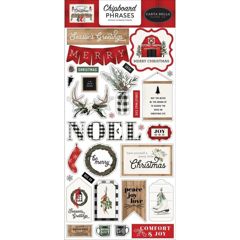 Farmhouse Christmas Chipboard Phrases
