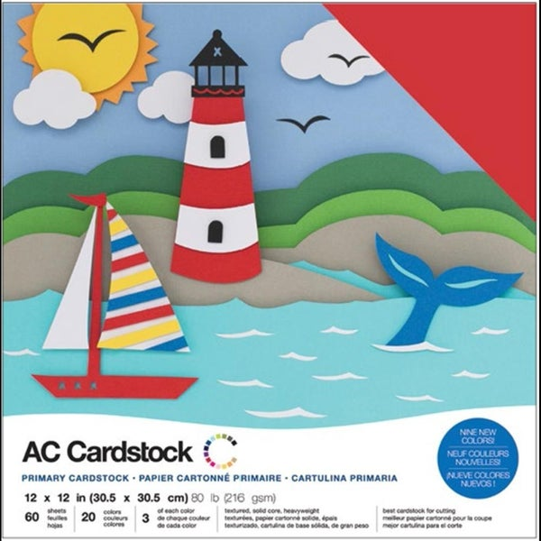 American Crafts Primary Cardsock Pack Qty 60