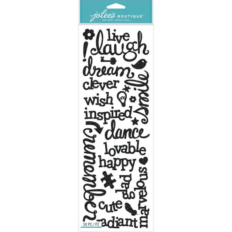 Laugh Love Black Glitter Stickers
