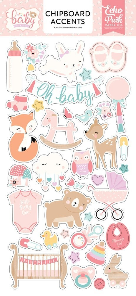 Hello Baby Girl Chipboard Accents