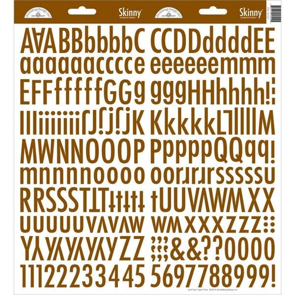 Skinny Alphabet Stickers - Bon Bon Brown