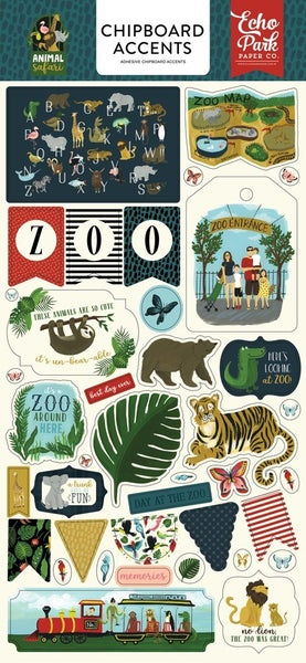Animal Safari Zoo Chipboard Accents
