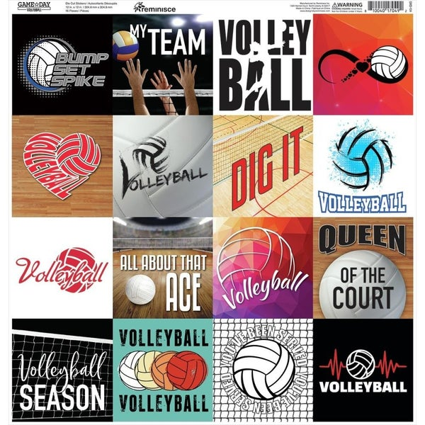 Game Day Volleyball 12x12 Sticker Sheet