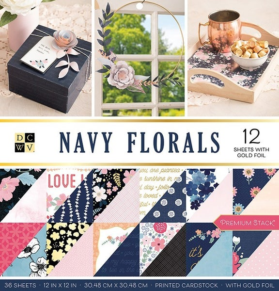 Navy Floral Gold Foil Paper Pack