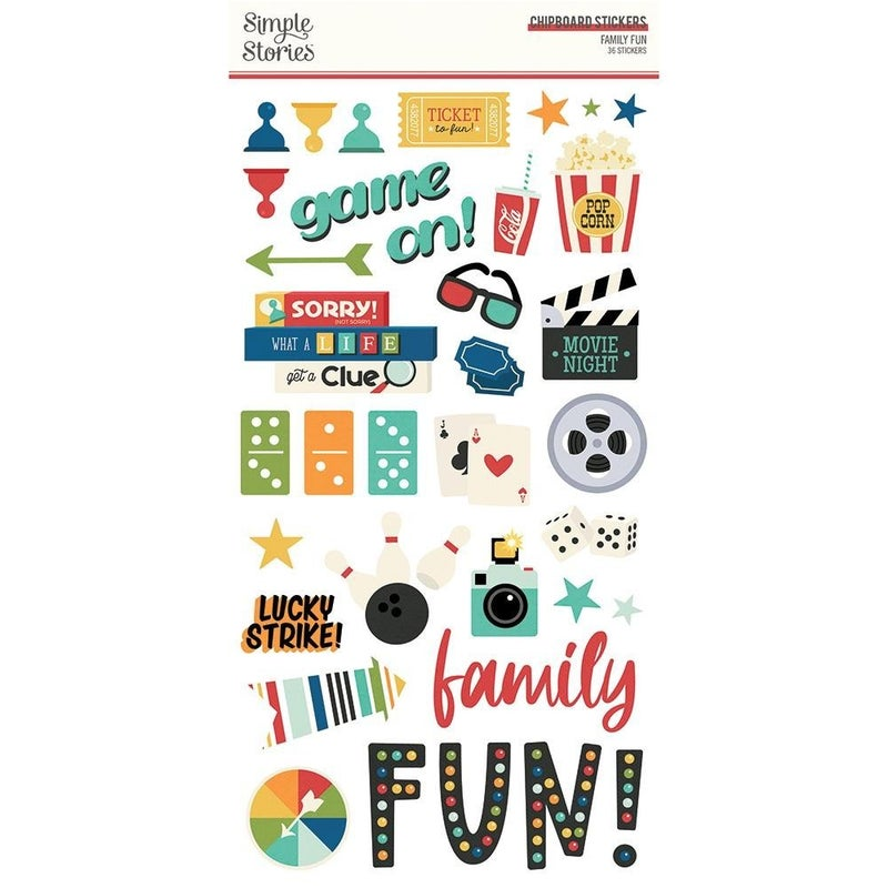 Family Fun Chipboard Stickers