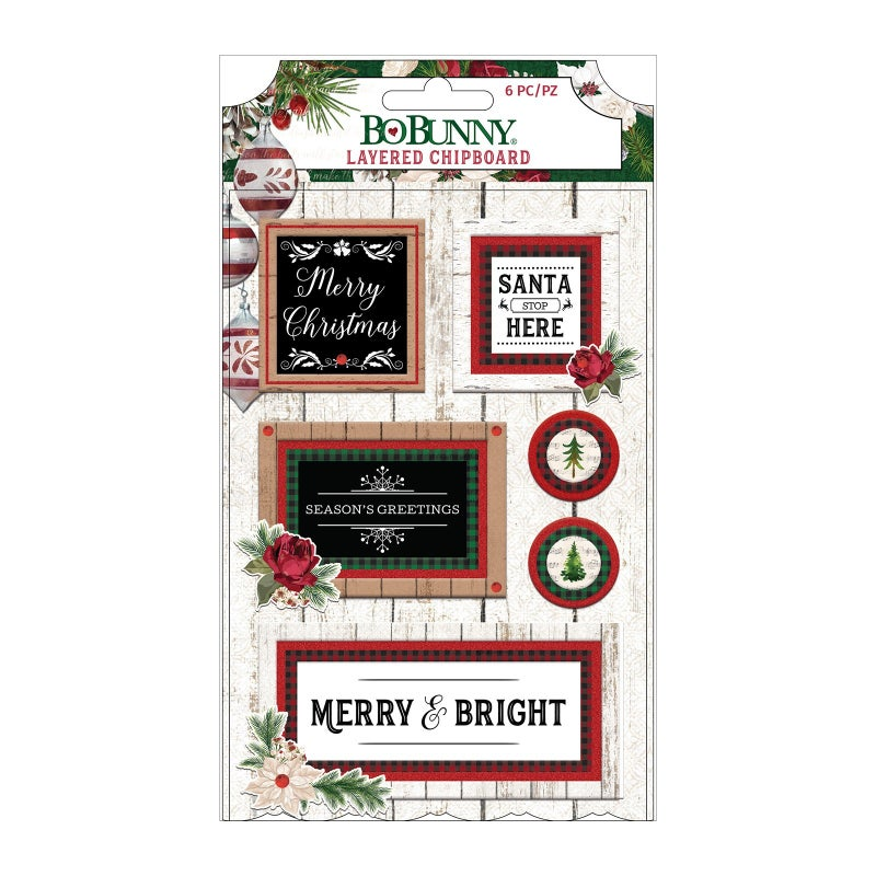 Joyful Christmas Layered Chipboard Stickers