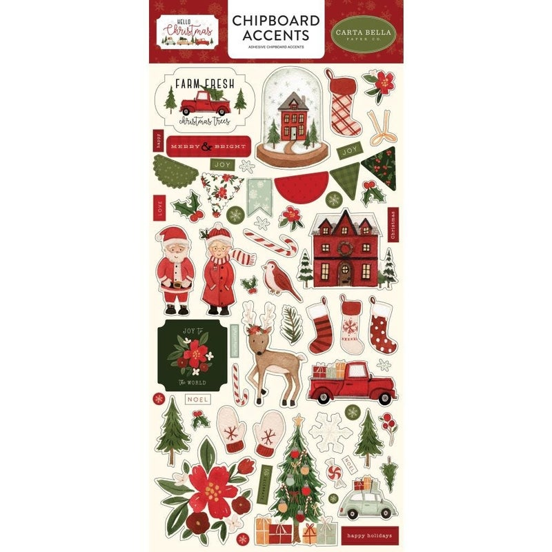Hello Christmas Chipboard Accents