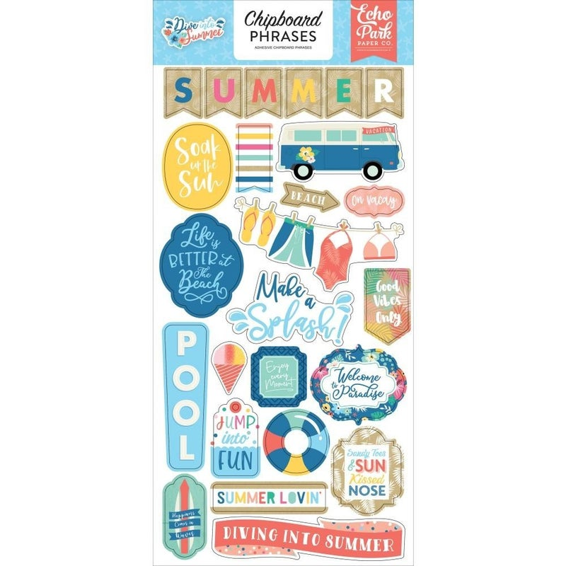 Dive Into Summer Chipboard Phrases