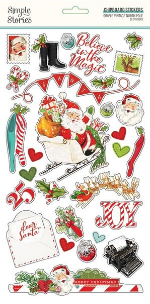 Simple Vintage North Pole Chipboard Stickers