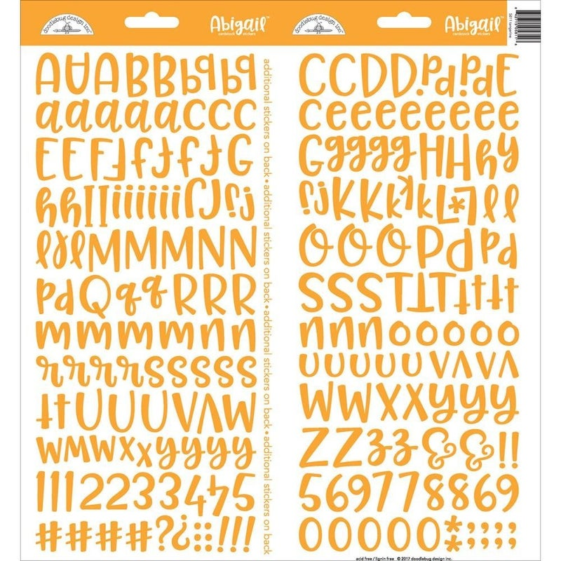Abigail Alphabet Stickers -Tangerine Orange