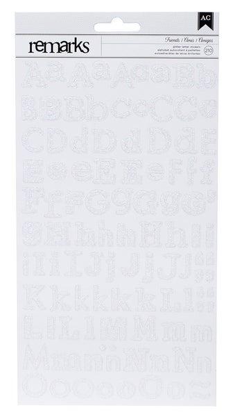 Friends Glitter Alphabet Stickers - White