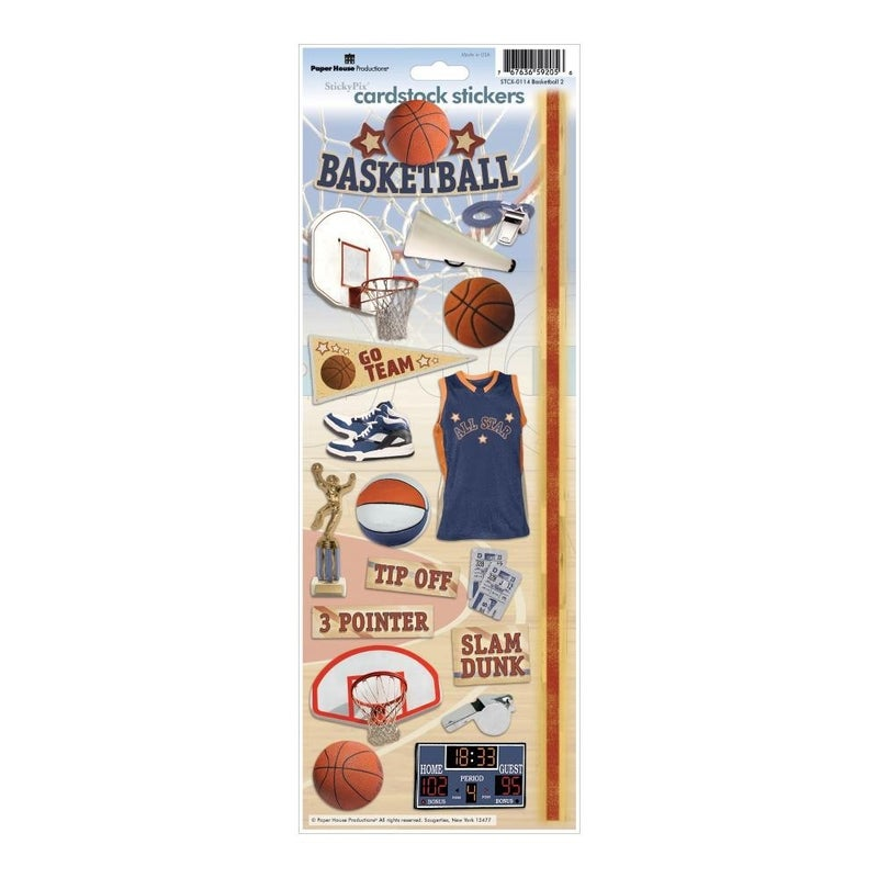 Basketball Cardstock Stickers