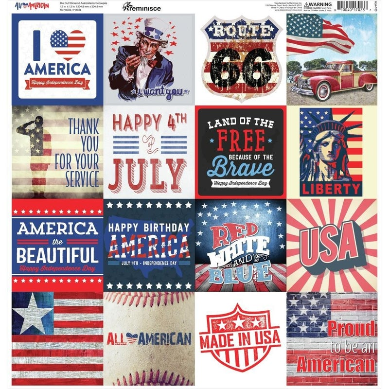 All American 12x12 Sticker Sheet
